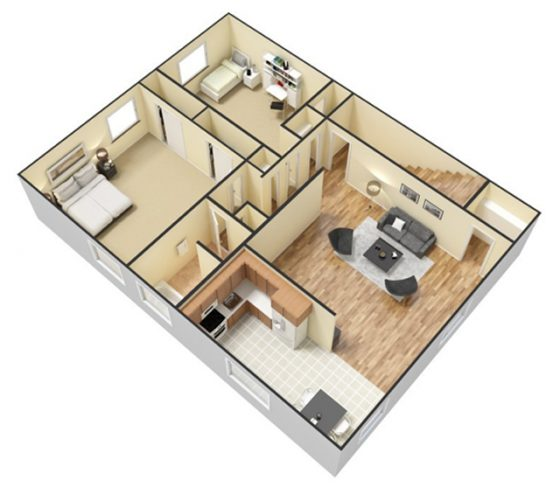 3D - Furnished - 2 bedroom 1 bath. 750 sq. st.